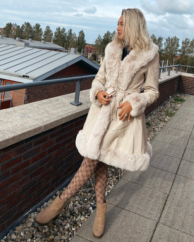 Faux fur belted coat long beige