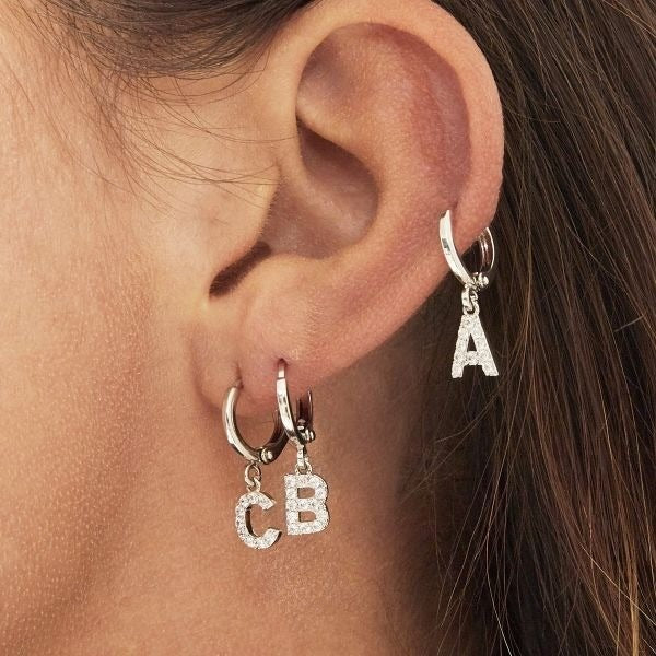 Initial earring silver A