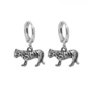 Wild tiger earrings silver
