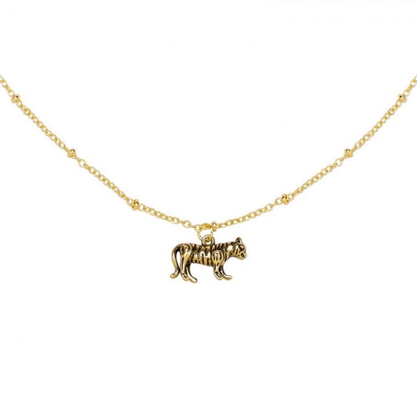 Wild tiger necklace gold