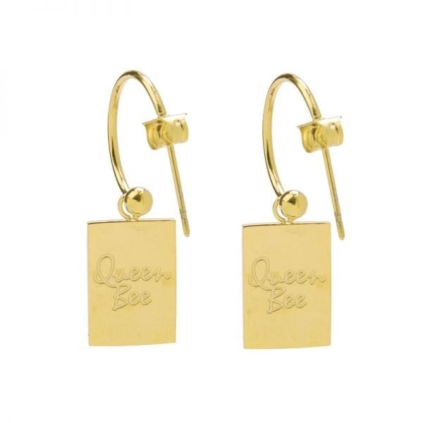 Queen bee earrings gold