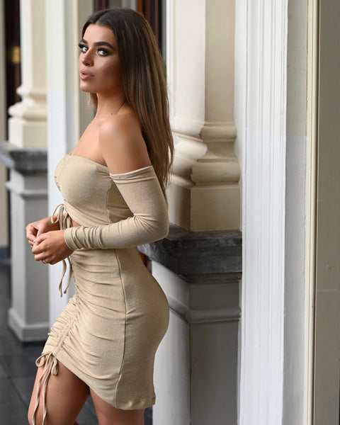 Joanna two piece lurex beige gold