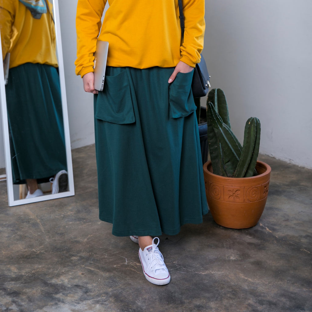 Skirt With Big Pocket Green Forest