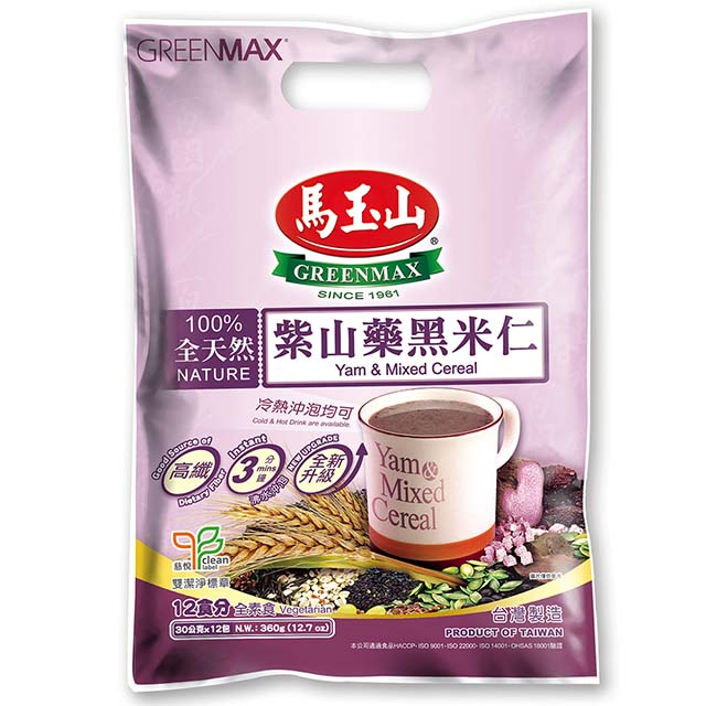 马玉山 紫山药黑米仁 (12包入) 360g GREENMAX Yam & Mixed Grain Cereal (12 count) 12.7oz