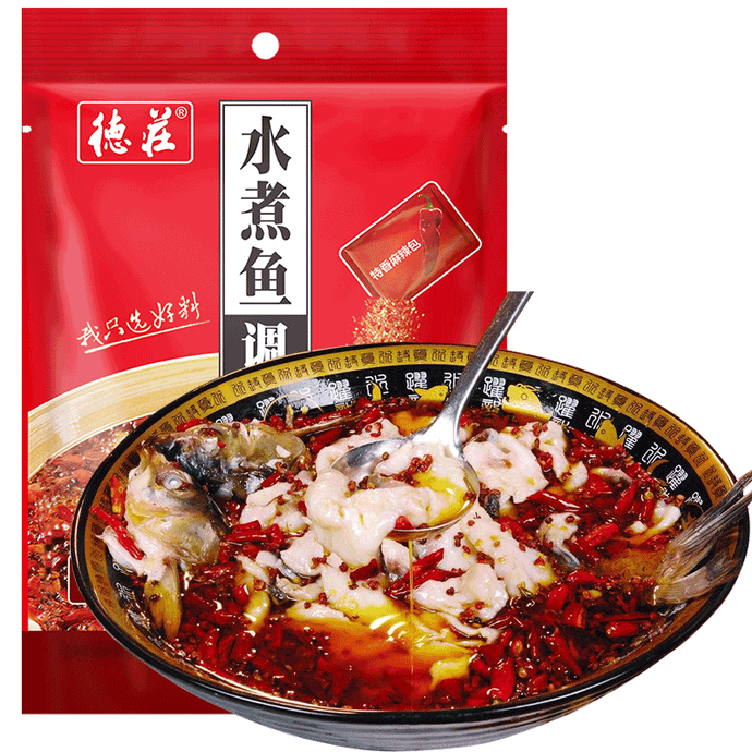 DEZHUANG Fish Fillets in Hot Chili Oil Seasoning spicy flavor 6.35oz 德庄 水煮鱼调料 180g