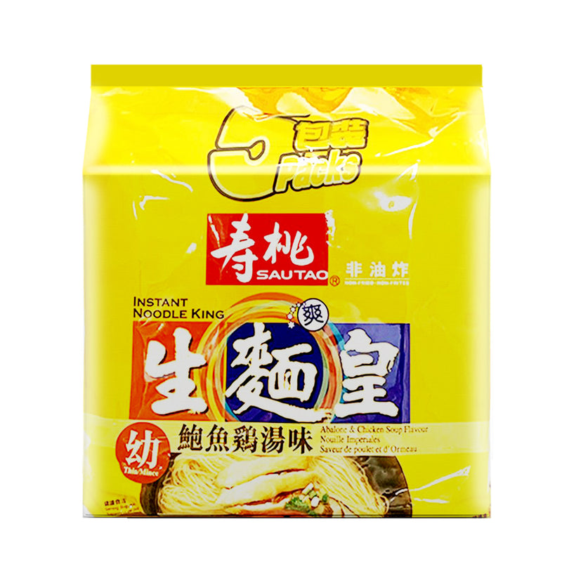 寿桃 生面皇 鲍鱼鸡汤味(5包入)350g SAU TAO Instant Noodle King Abalone Chicken Soup Flavor (5 count) 12.35oz