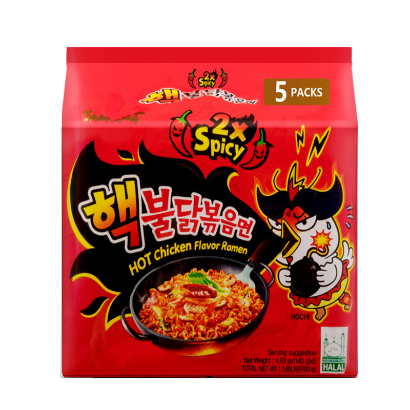 三养 两倍加辣火鸡面 (5包入) 700g SAMYANG Hot Chicken Flavor Ramen 2x spicy (5 count) 24.69oz