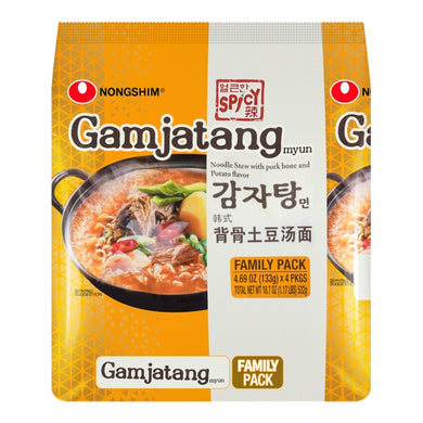 NONGSHIM Gamjatang Myun noodle stew with pork bone and potato flavor (4 count) 18.77oz 农心 韩式背骨土豆汤面(4包入)532g