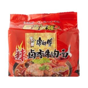 MASTER KONG Braised Beef Noodles braised beef flavor (5 count) 20.46oz 康师傅 卤香牛肉面(5包入)580g