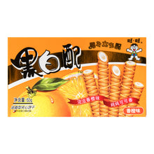 Load image into Gallery viewer, WANT WANT Biscuit Roll orange flavor 2.12oz 旺旺 黑白配华夫卷 香橙味