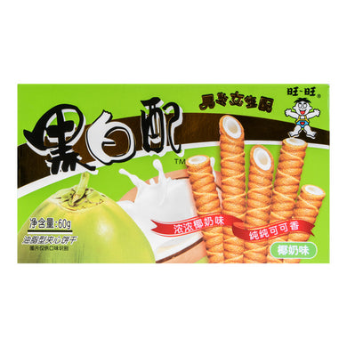 WANT WANT Biscuit Roll coconut milk flavor 2.12oz 旺旺 黑白配华夫卷 椰奶味