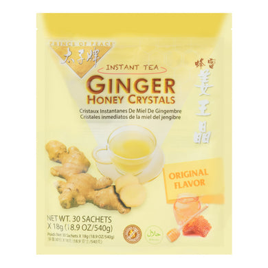 太子牌 姜王晶 老姜蜂蜜 (30包入) 540g Keywords:Prince of Peace, instant tea ginger honey crystals, original flavor, drink mixes Related Keywords:ginseng tea, crystalized ginger, 花旗参, 寿全斋