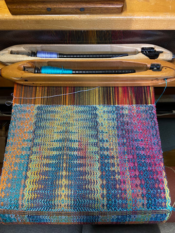 Double weave sample woen on loom with two shutttles