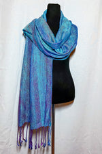 Load image into Gallery viewer, Greater Blue-Eared Glossy Starling Mini Shawl - Sydney Sogol, Wearable Art, Mini Shawls, greater-blue-eared-glossy-starling-mini-shawl,