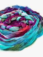 Load image into Gallery viewer, Hand Painted Warp: Tencel 8/2- Kereru - Sydney Sogol, , hand-painted-tencel-8-2-kereru, Eco-friendly Yarn, Hand dyed warp, handpainted warp, tencel Warp, tencel yarn, warp, Weaving Yarn