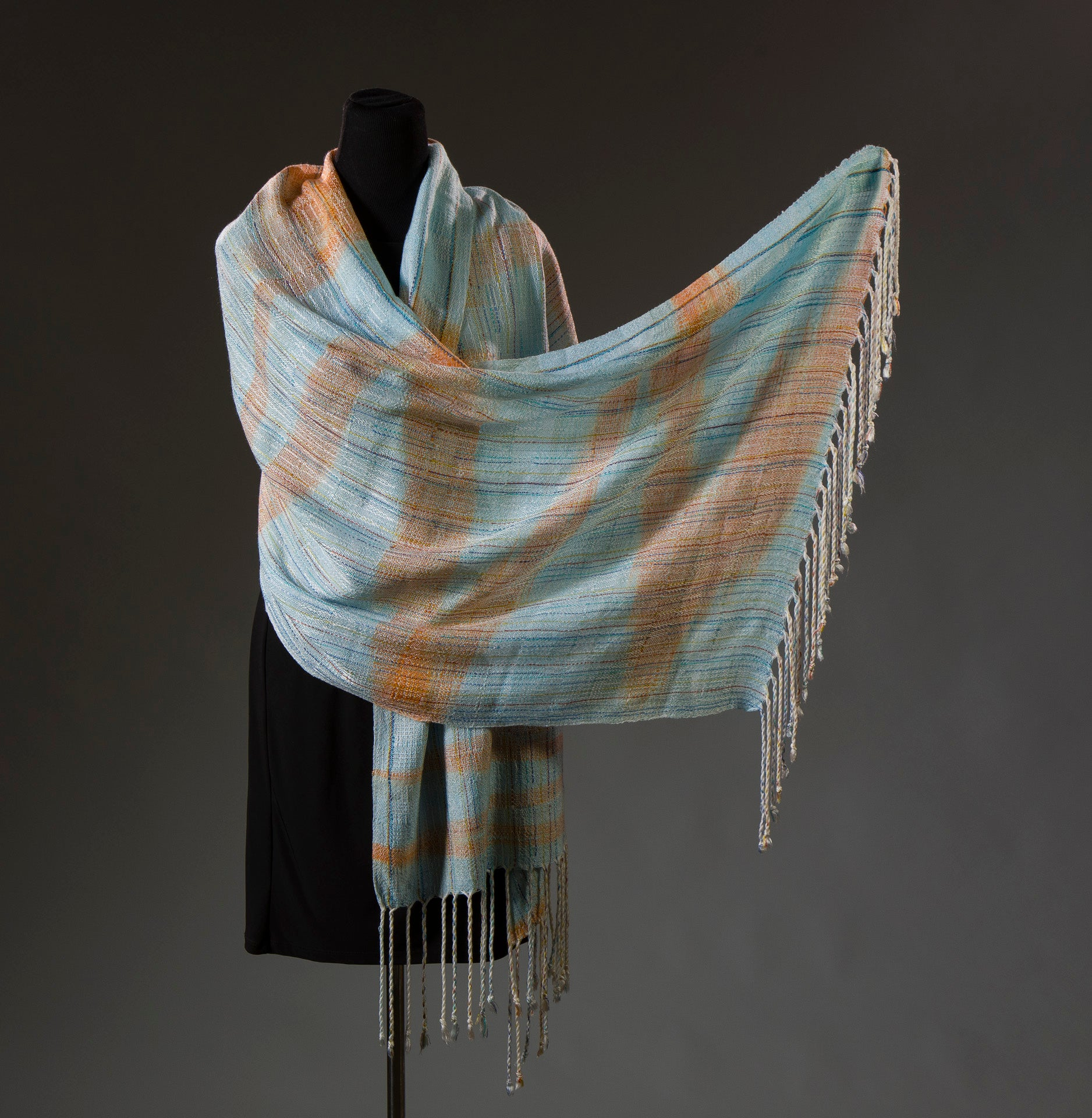 Kingfisher Zig Zag Blanket Scarf - Sydney Sogol, Wearable Art, Blanket Scarves, kingfisher-zig-zag-blanket-scarf,