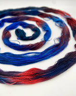 Load image into Gallery viewer, Hand Painted Warp: Tencel 5/2- Pukeko - Sydney Sogol, Hand dyed Yarn, hand-painted-warp-5-2-pukeko, Eco-friendly Yarn, Hand dyed warp, handpainted warp, tencel Warp, tencel yarn, warp, Weavin
