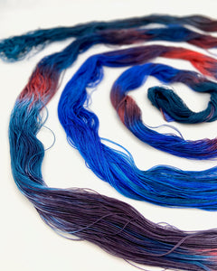 Hand Painted Warp: Tencel 5/2- Pukeko - Sydney Sogol, Hand dyed Yarn, hand-painted-warp-5-2-pukeko, Eco-friendly Yarn, Hand dyed warp, handpainted warp, tencel Warp, tencel yarn, warp, Weavin