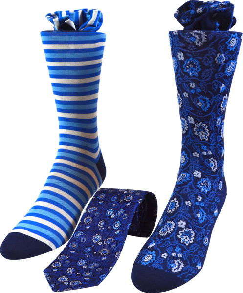 Cerulean Vines Men's Tie and Socks Set