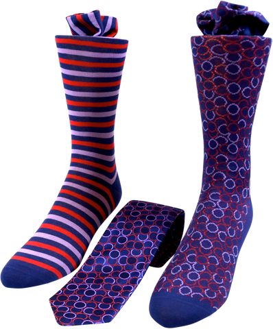 Repeating Roundabout Men's Tie and Socks Set