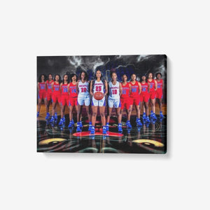 "1 Piece Canvas Wall Art for Living Room - Framed Ready to Hang 24""x18"" Basketball Team"