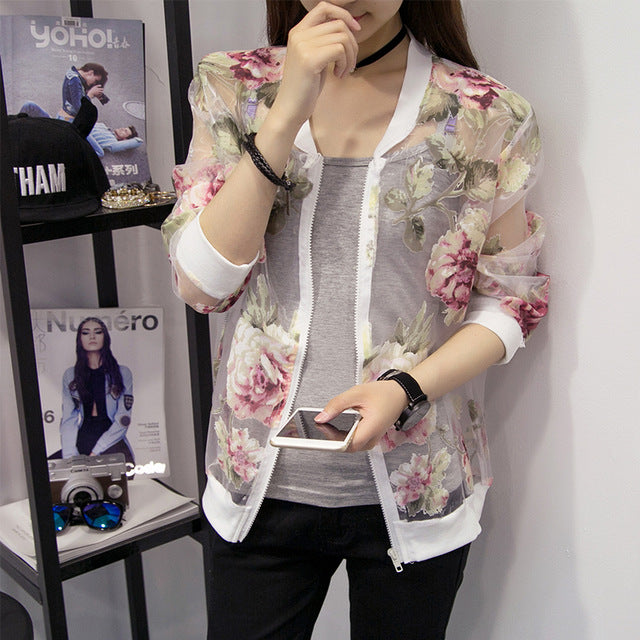 4xl plus big size coats women spring summer style autumn 2018 feminina cute sweet organza cardigan coats female A4856