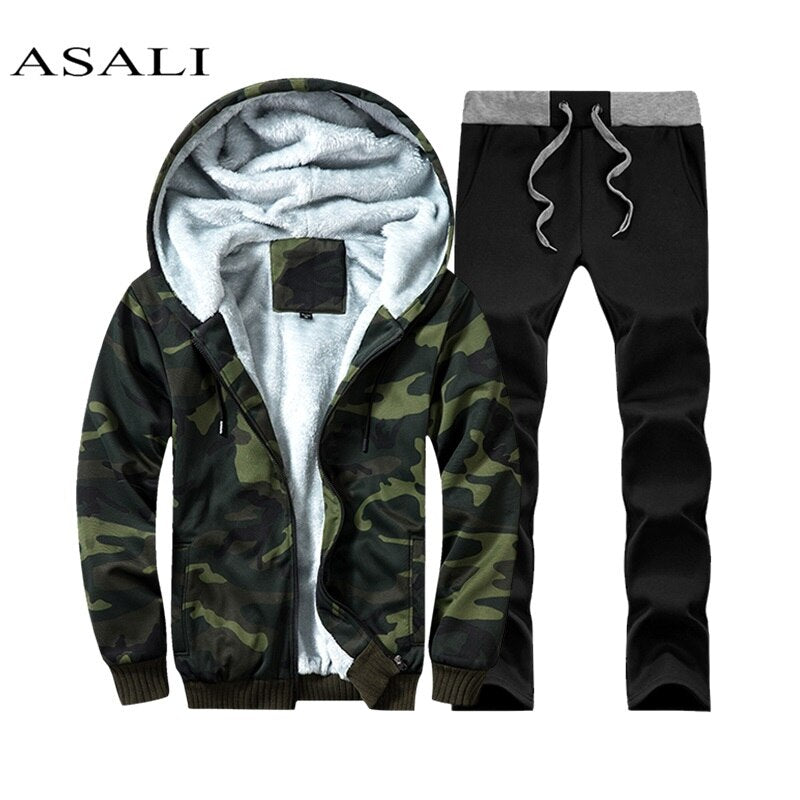 Men Set for Winter Fleece Hoodie Sweatshirt + Pants Camouflage Male Tracksuit Sporting Sweat Suits Jacket Cotton Mens Sportswear