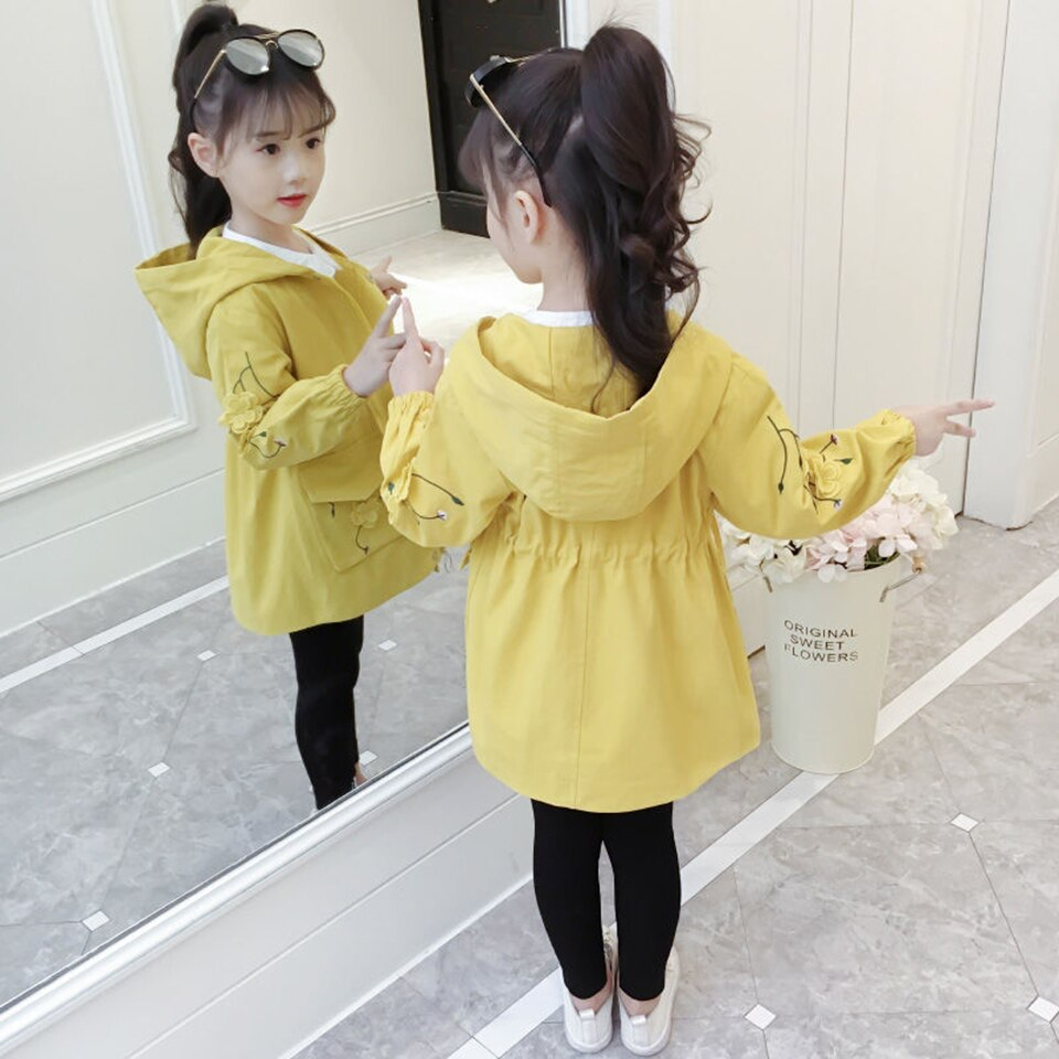 3 Colors 4-12Yrs Children's Fashion Baby Girls Coats Spring Autumn Warm Girl Hooded Jackets Outwear Children Baby Girls Coat