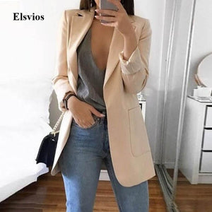 Elsvios 5XL Women Autumn Business Jacket Spring Office Lady Slim Coat Outwear Casual Long Sleeve Basic Tops chaquetas mujer