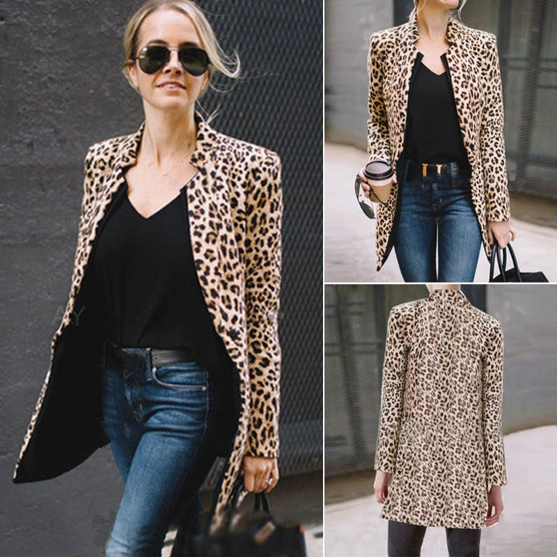 2019 Spring Autumn Fashion Women's Leopard Jacket Sweater Top Warm Casual Suit Long Coat
