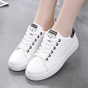 SWONCO White Shoes Women'e Sneakers Autumn 2019 Snikers For Women  Star Platform Sneakers For Women Shoes Female Vulcanize Flat