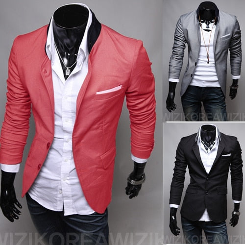 2018 New Men's Casual Slim Stylish fit One Button Suit Blazer Coat Jackets Turn-Down Collar Grey/Black/Watermelon Red
