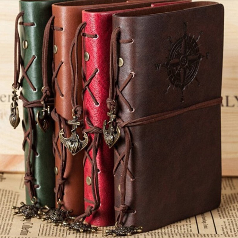 Vintage Pirate Anchors PU Leather Note Book Replaceable Stationery Gift  Spiral Notebook Diary Notepad Replaceable inner core