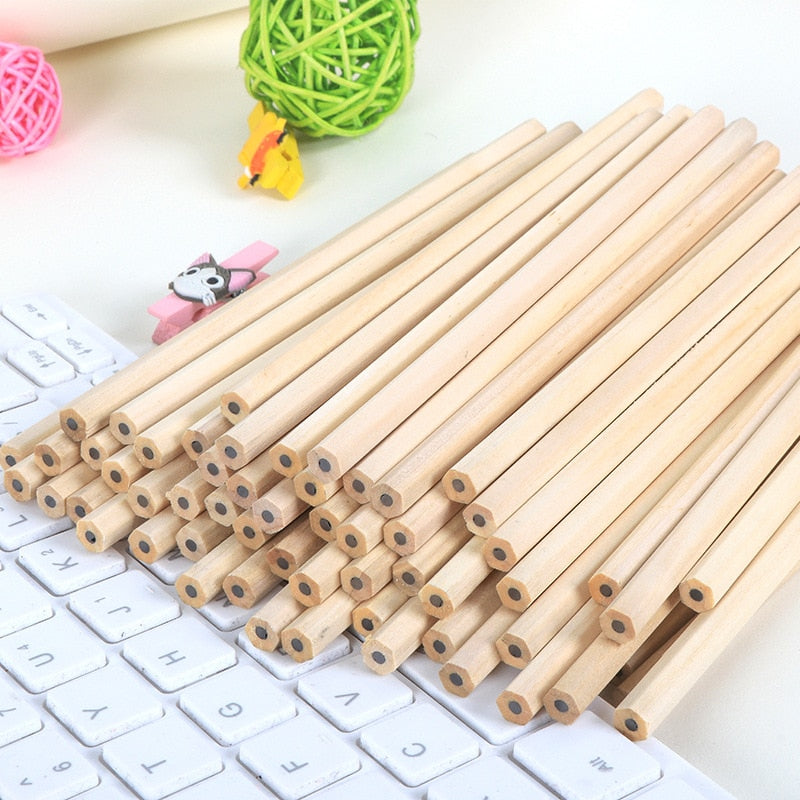 100pcs/ lot Eco-friendly Natural Wood Pencil HB Black Hexagonal Non-toxic Standard Pencil Cute Stationery Office School Supplies