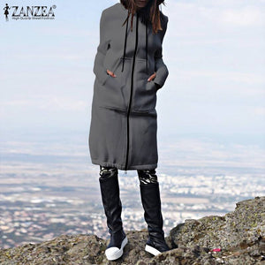 ZANZEA 2019 Autumn Winter CasuaL Women Long Hoodies Sweatshirt Coat Zip Up Outwear Hooded Jackets Plus Size Hooded Chaqueta 5XL
