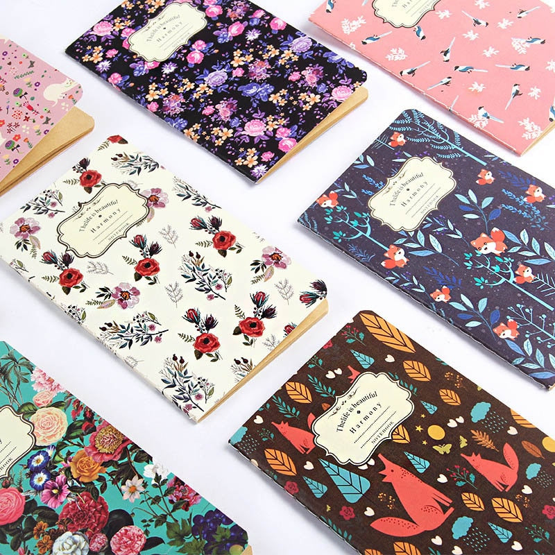 1PC Cute Flower Diary Sketchbook Vintage Bullet Journal Kraft Paper Notebooks For Kid Girl School Office Supplies Stationery