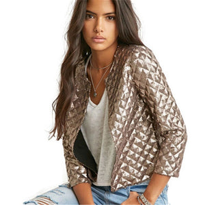 Spring Gold Sequins Women Jackets Three quater sleeve Ladies Outwears For Women Casual Jackets Streetwear Female Tops Jackets