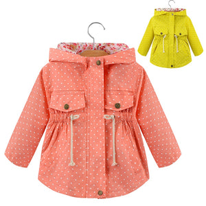Spring And Autumn Girls Jackets Dot Decoration Cotton Casual Long Sleeve Windbreaker Zipper Fashion Girls Outerwear Kids Clothes
