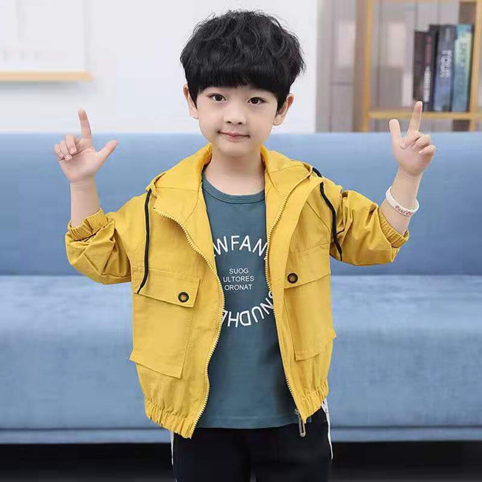 Fashion Baby Boys Kids Coat Solid Color Hooded Jackets Outwear Autumn Spring Warm Children Clothes 3 4 5 6 7 8 9 10 11 12Yrs