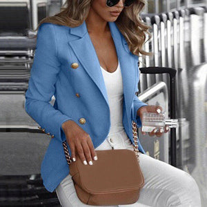 Women Lady Long Sleeve Button Jacket Autumn Spring Casual Female Solid Coat Outwear Top Plus Size S-4XL