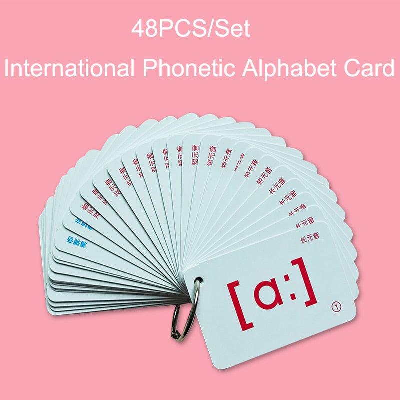 48Pcs/Set English FlashCards International Phonetic Alphabet Card Educational Learning Portable Table Game Toys For Children