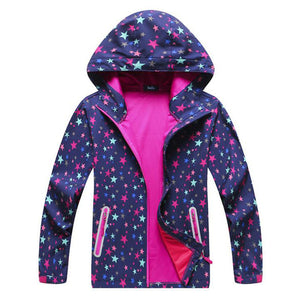 Girls Soft-shell Jacket Printing Autumn Spring Coat Hiking Camping Windbreakers Waterproof Windproof Jackets kids Sport Outwear