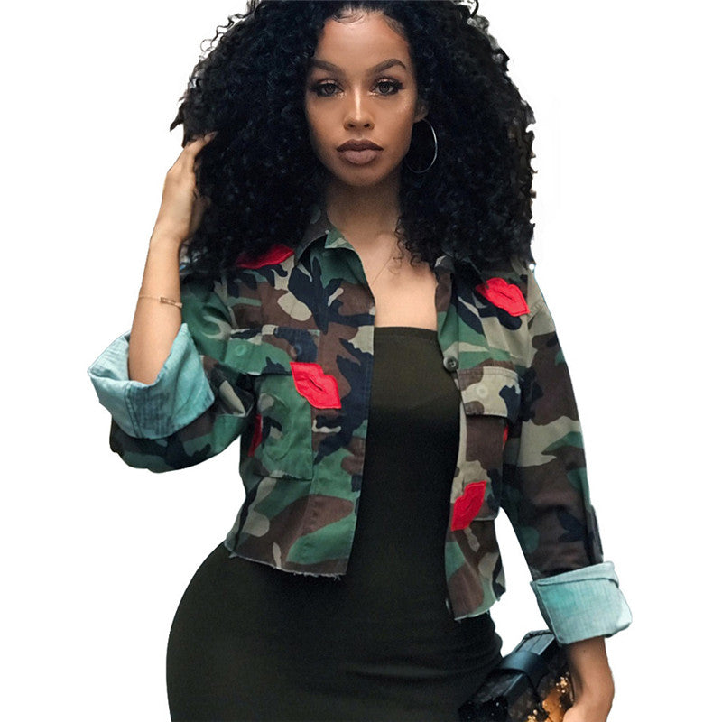 Camouflage Jacket Women Summer Crop Top Turn-Down Collar Camo Jacket Chic Short Shirt Military Coat Spring 2019 Casual Outerwear