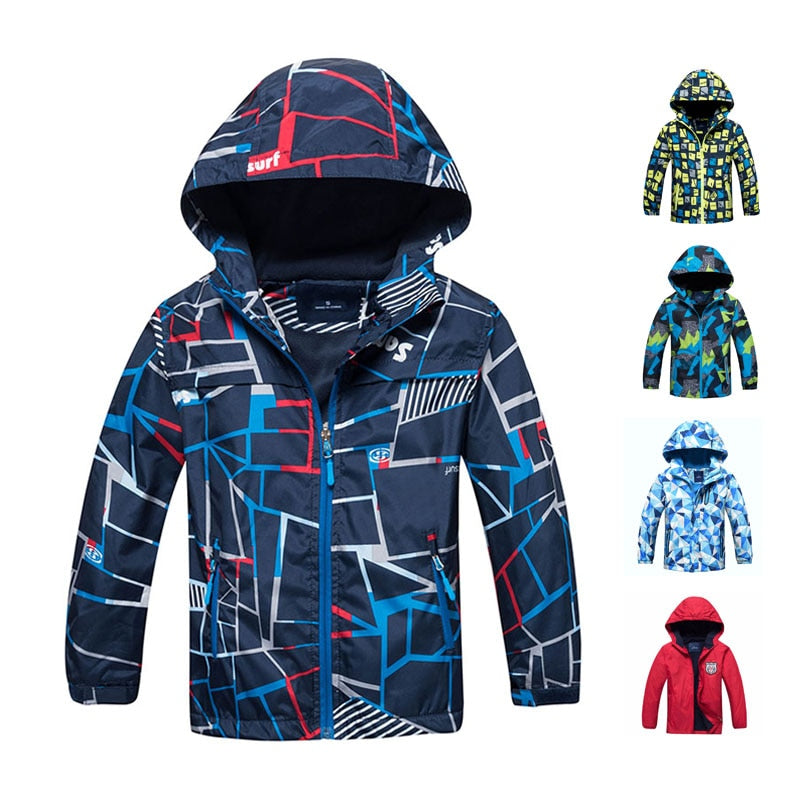 Spring Autumn Boys Jacket Waterproof Windproof Children Outerwear Warm Polar Fleece Coat Hoodie Baby Kids Clothes For 3-12Y