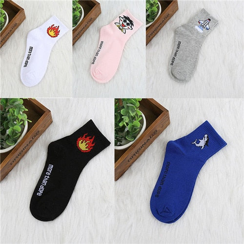 CHAOZHU Korea Fashion Girls Socks Sets 5 Pairs/lot More than Dope Cotton Causal Cartoon Cute Socks Fruits Animals Stripes Smile