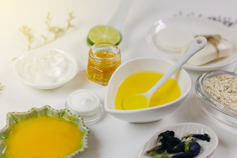 Home spa skincare ingredients. Yellow honey and egg and lemon,Aloe Vera,Natural beauty product.