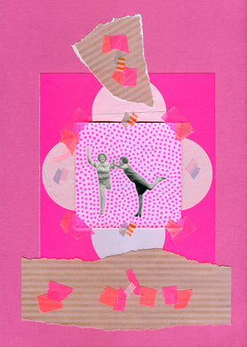 Neon Pink Original Mixed Media Collage Art Piece On Paper - Naomi Vona Art
