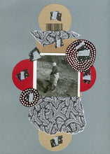 Load image into Gallery viewer, Silver Black Mixed Media Collage On Paper - Naomi Vona Art