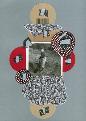 Silver Black Mixed Media Collage On Paper - Naomi Vona Art