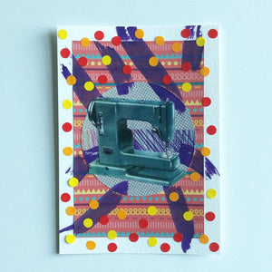 Vintage Sewing Machine Collage Artwork - Naomi Vona Art